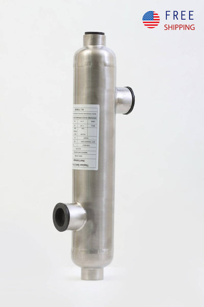"Swimming Pool Heat Exchanger - 1200K Titanium Opposite Side 2 1/2"" & 2"" FPT - Alfa Heating Supply"