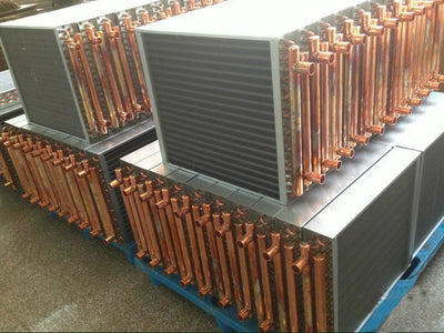 "Air to Water Heat Exchanger 190kBtu 18x18 1"" Copper Ports"