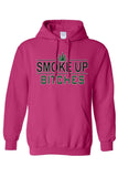 "Men's/Unisex Pullover Hoodie ""Smoke Up B**ches"""