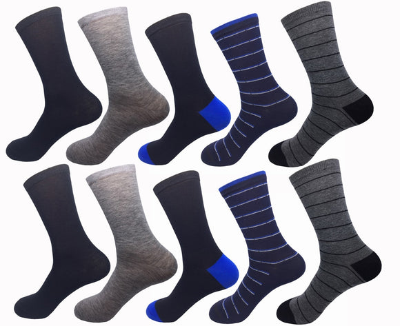 Men's Cotton Casual Breathable Socks 10 Pair Promo Pack Assorted Design