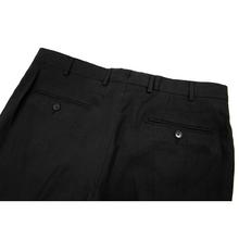 NWT Stile Italiano Black Linen Wool Unlined Flat Front Pants 34W/50EU