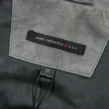 NWT John Varvatos Thunder Grey Suede Leather Unstructured Mock Neck Jacket M