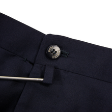 Sartoria Sabino Navy Blue Wool Twill Unlined Flat Front Dress Pants 34W
