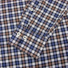 Peter Millar Brown Blue Cotton Plaid Button Down Dress Shirt Medium