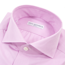 NIB Luca Avitable Pink Cotton End-on-End MOP Spread Collar Dress Shirt 43EU/17US