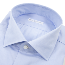 NIB Luca Avitable Sky Blue Cotton End-on-End MOP Spread Dress Shirt 41EU/16US