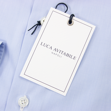 NIB Luca Avitable Sky Blue Cotton End-on-End MOP Spread Dress Shirt 42EU/16.5US
