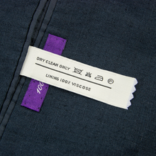 Ralph Lauren Purple Label Blue Linen Slubby Glossy Triple Patch Pkt Jacket 42L