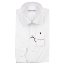 NIB Luca Avitable Pearl White Cotton MOP Spread Collar Dress Shirt 39EU/15.5US