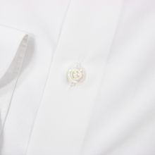 NIB Luca Avitable Daisy White Cotton MOP Spread Collar Dress Shirt 37EU/14.5US