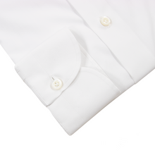 NIB Luca Avitable Powder White Cotton MOP Spread Collar Dress Shirt 40EU/15.75US