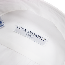 NIB Luca Avitable Chiffon White Cotton MOP Spread Collar Dress Shirt 41EU/16US