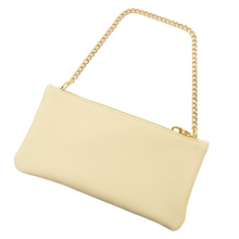 LNWOT Salvatore Ferragamo Cream Leather Gold-Tone Accent Parfums Cosmetic Bag