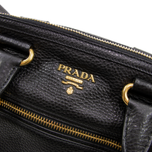 NWOT Prada Milano Black Pebble Grain Leather Gold Accent Rolled Strap Handbag