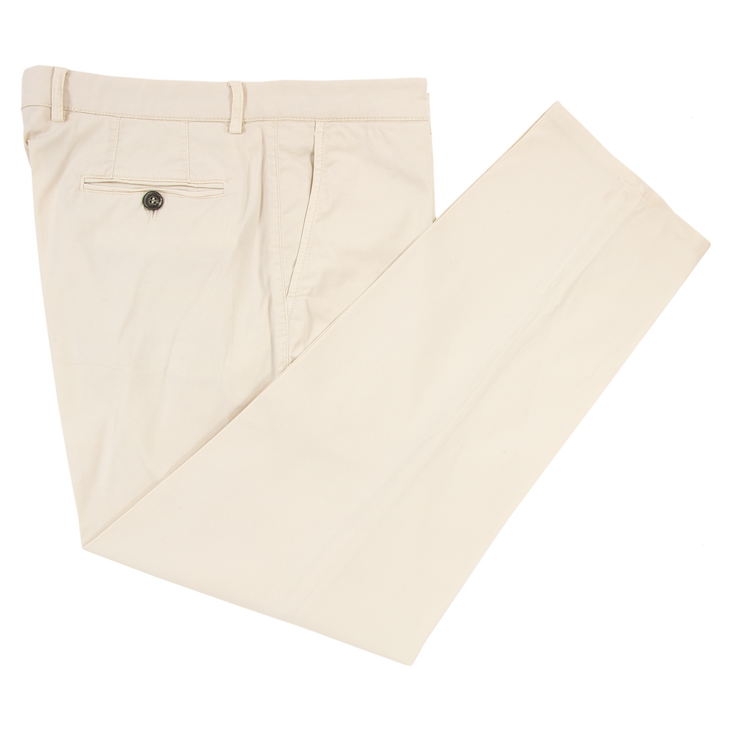 Brunello Cucinelli Chiffon White Cotton Twill Unlined Flat Front Pants 52EU/36W
