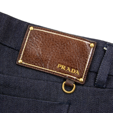 Prada Denim Blue Wool Leather Jacron 5-Pocket Flat Front Straight Leg Jeans 32W