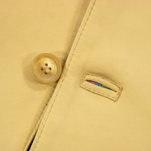 NWD Schiatti & Co. Beige Nappa Leather Silk Lined Button Front Jacket 48US