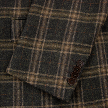 NWOT Sartoria Cantarelli Brown Wool Cashmere Flannel Plaid 2Btn Jacket 40R