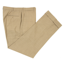 NWOT Ambrosi Tan Drapers Light Panama S120's Wool Flat Front Dress Pants 35W