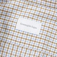 Zegna Brown White Blue Cotton Checked Spread Collar Dress Shirt 39EU/15.5US