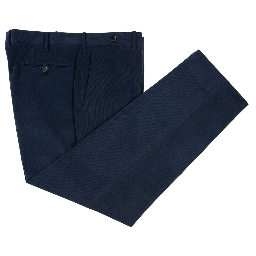 LNWOT Rota Navy Blue Brushed Cotton Flat Front Twill Pants 38W/54EU