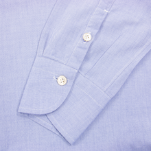 G. Inglese Sky Blue Cotton Oxford MOP Buttons Spread Collar Dress Shirt 16US