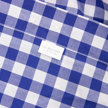 Ledbury Blue White Cotton Gingham Check Spread Collar Dress Shirt 43EU/17US