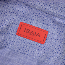 Isaia Blue Cotton Micro-Paisley Print MOP Spread Collar Dress Shirt 41EU/16US