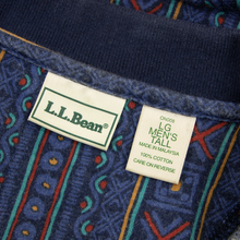 VINTAGE LL Bean Blue Multi-Color Cotton Abstract Short Sleeve Polo Shirt Large
