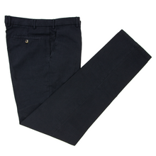 NWT $475 Loro Piana Midnight Blue Cotton Linen Static Flat F. Pants 32W/48EU