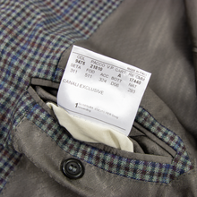 NWOT Canali Exclusive Su Misura Grey Blue Brown Wool Checked 2Btn Jacket 44L