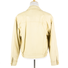 NWT Schiatti Cream Nappa Leather Unstructured Top Stitch Blouson Jacket 48US