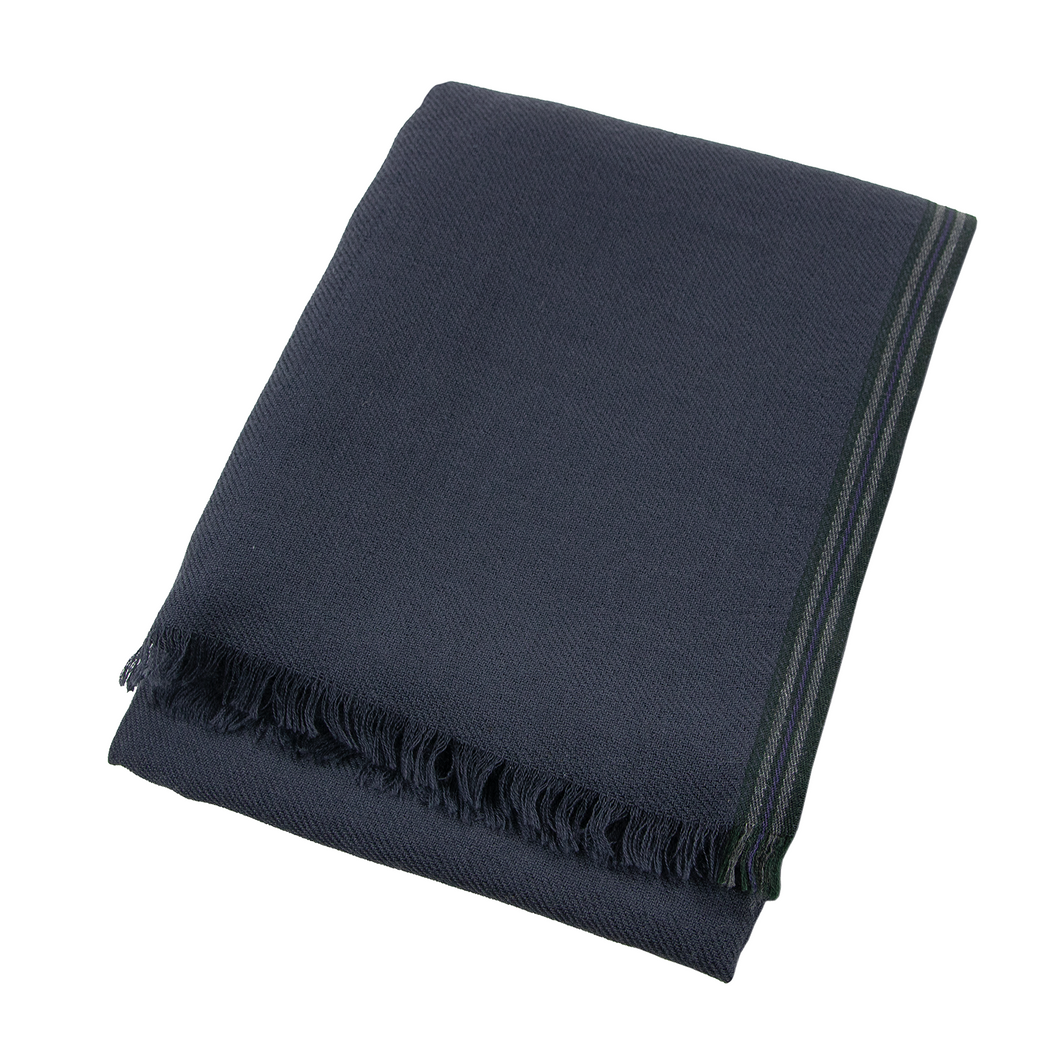 Loro Piana Blue 100% Cashmere Knit Superfine Bordered Frayed Hem Scarf
