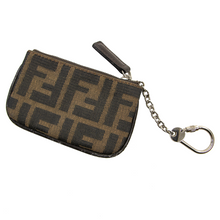 Fendi Tobacco Black Leather Trim Silver-Tone Clasp Key Chain Coin Purse