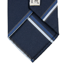Tie Your Tie Navy Cotton Silk Multi Stripe Faille Tipped 7-Fold Hand Rolled Tie