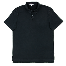 James Perse Jet Black Cotton MOP Knit Short Sleeve Polo Shirt 1/Small