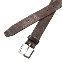 Orciani Brown Burnished Genuine Leather Wide 5-Hole Brass Buckle Belt 90CM/36W