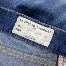 Brunello Cucinelli Blue Denim Whiskered Washed Leather Jacron 5-Pocket Jeans 34W