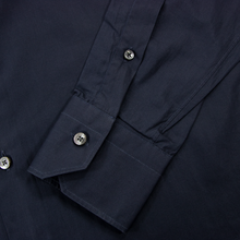 Zegna Sable Black Cotton MOP Buttons Spread Collar Dress Shirt 40EU/15.75US