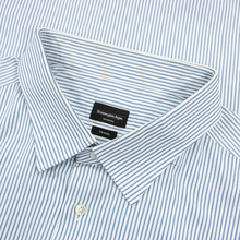Zegna Su Misura Blue White Trofeo Cotton MOP Point Collar Dress Shirt 20.5US