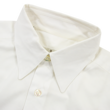 Zegna Pearl White Cotton Twill MOP Buttons Straight Collar Dress Shirt 38EU/15US
