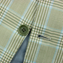 Kiton Pale Green Blue 100% Cashmere Plaid Dual Vents 3/2 Roll Jacket 46L