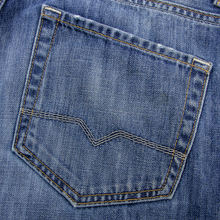 Hugo Boss Blue Denim Washed Leather Jacron 5-Pkt Button Fly Jeans 36W