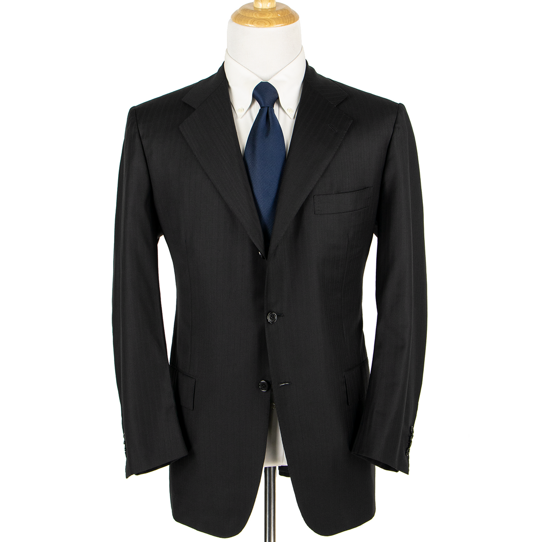 Kiton Napoli Black Wool Mute Striped Surgeon Cuffs Hand  Pleated 3Btn Suit 44L