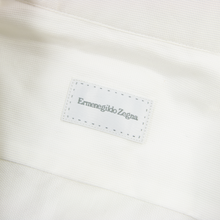 NWOT Zegna White Cotton Pique MOP Slim Fit Semi-Spread Dress Shirt 38EU/15US