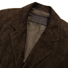 Zegna Mocha Brown Suede Leather Top Stitch Triple Patch Unstructured Jacket 44US