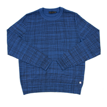 NWT Z Zegna Blue Black Wool Abstract Checked LS Piped Crew Neck Sweater Small