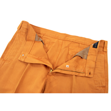 NWT Rota Ponza Orange Cotton Linen Slubby Unlined Flat Front Pants 35W