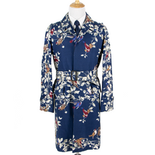 NWT Dolce & Gabbana Blue Cotton Bird Print Belted Cinch Long Trench Coat 40US