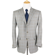 Zegna Blue White Blue 15 Milmil 15 Wool Windowpane Houndstooth Vented Jacket 44R